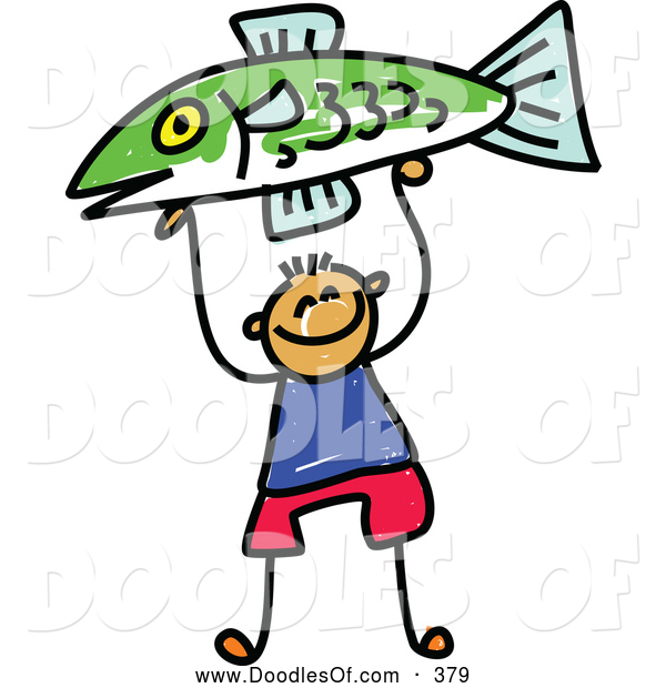 Vector Clipart of a Happy Boy Holding up a Fish