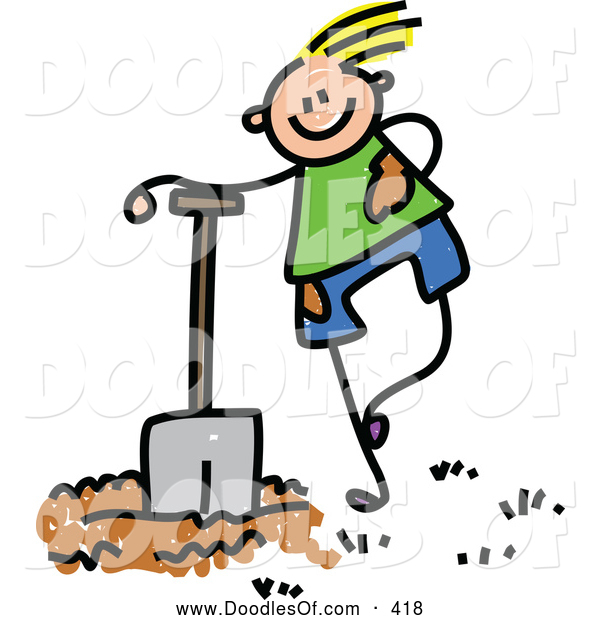 Vector Clipart of a Happy Boy Leaning on a Shovel