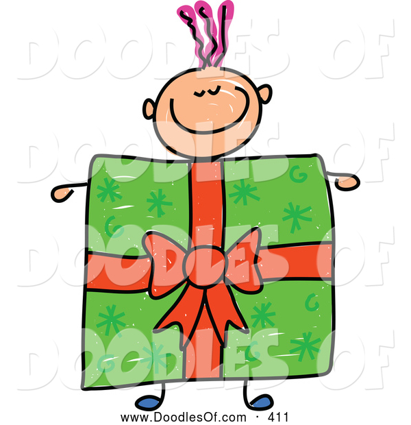 Vector Clipart of a Happy Boy with a Present Body