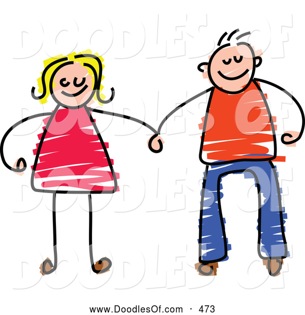 Vector Clipart of a Happy Couple Holding Hands on White