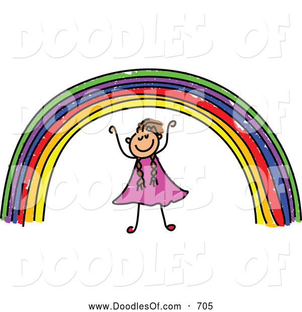 Vector Clipart of a Happy Doodle Girl Under a Rainbow