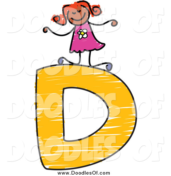 Vector Clipart of a Happy Doodled Black Stick Girl on a Capital Letter D