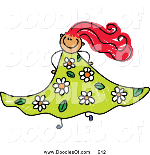 Vector Clipart of a Happy Doodled Red Haired Girl in a Floral Dress