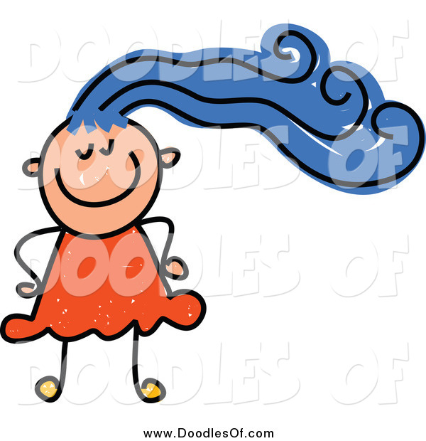 Vector Clipart of a Happy Doodled White Girl with Blue Hair