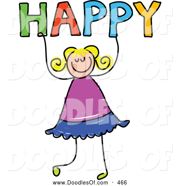 Vector Clipart of a Happy Girl Holding the Word HAPPY