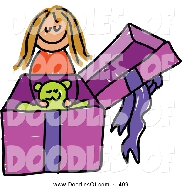 Vector Clipart of a Happy Girl Opening a Gift with a Teddy Bear