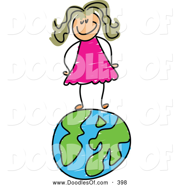 Vector Clipart of a Happy Girl Standing on a Globe of Earth