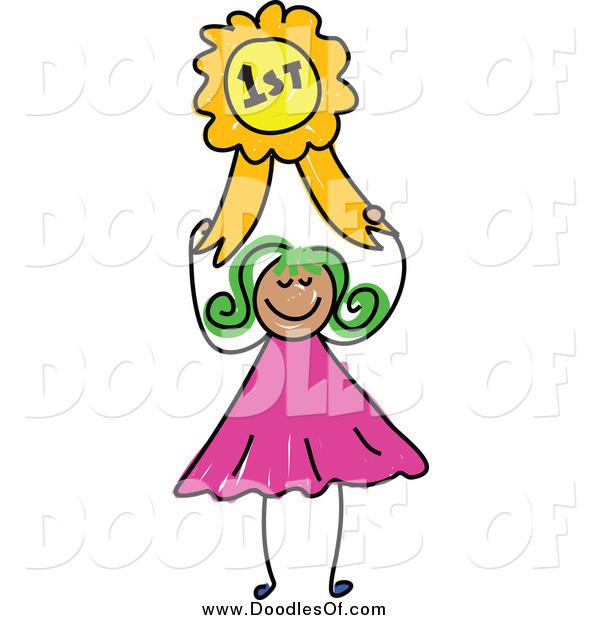 Vector Clipart of a Happy Green Haired Doodled Girl Holding a First Place Ribbon