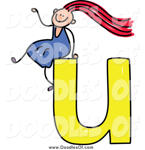 Vector Clipart of a Happy Red Haired White Doodled Girl Waving and Sitting on a Lowercase Letter U