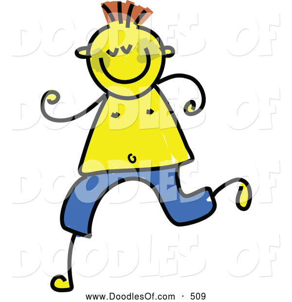 Vector Clipart of a Happy Running Boy with Jaundice