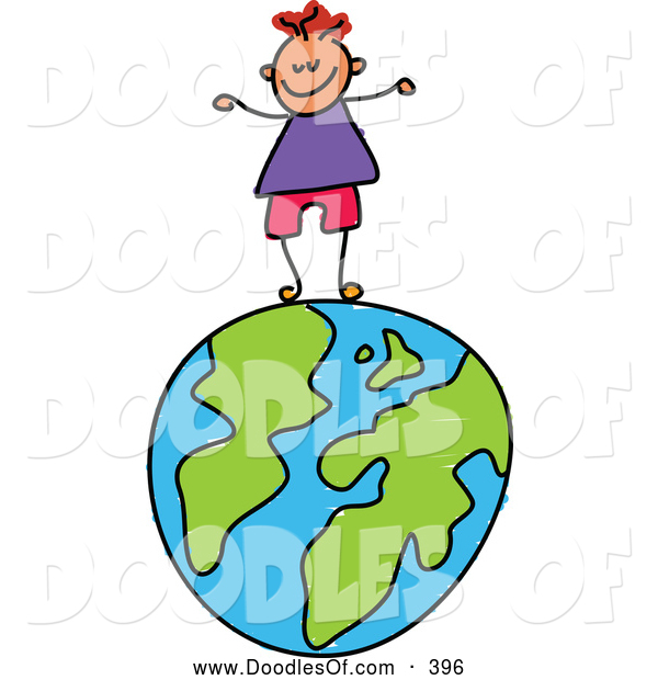 Vector Clipart of a Happy Smiling Boy Standing on a Globe