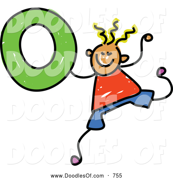 Vector Clipart of a Happy Stick Boy Holding the Number 0