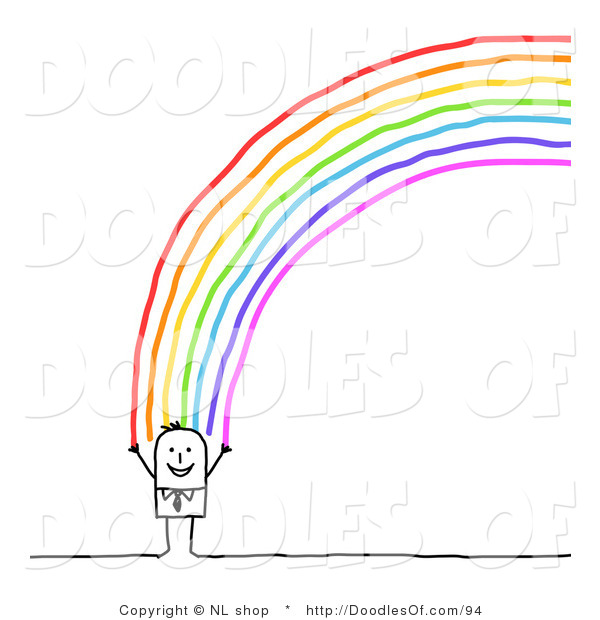 Vector Clipart of a Happy Stick Figure Person Man Standing at the End of a Rainbow