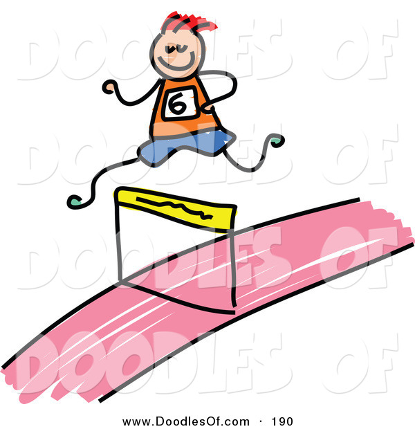 Vector Clipart of a Kid's Sketch of a Boy Leaping a Hurdle