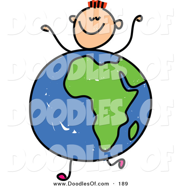 Vector Clipart of a Kid's Sketch of a Happy Boy with an African Globe Body