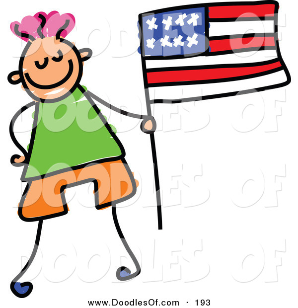 Vector Clipart of a Kid's Sketch of Little Boy with an American Flag