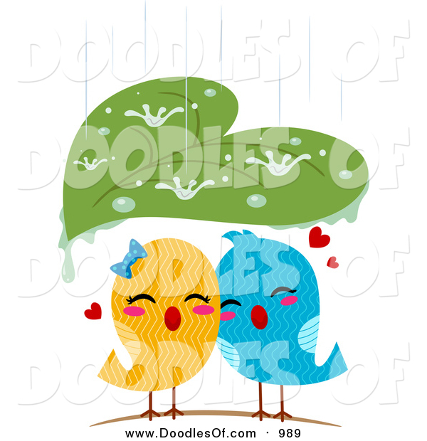Vector Clipart of a Leaf Sheltering Love Birds from the Rain