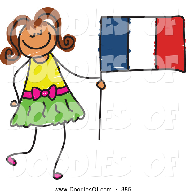 Vector Clipart of a Little Girl Holding a Striped French Flag