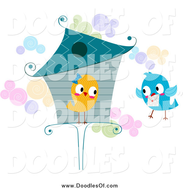 Vector Clipart of a Love Bird at a House, Receiving a Letter