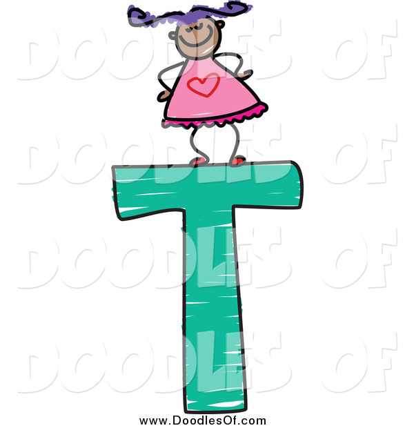 Vector Clipart of a Proud Doodled Girl on a Capital Letter T