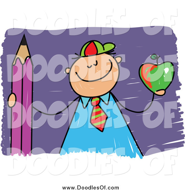 Vector Clipart of a Proud Doodled School Boy Holding an Apple and Pencil