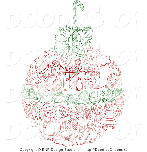 Vector Clipart of a Red and Green Sketched Christmas Ball with Wreath Items
