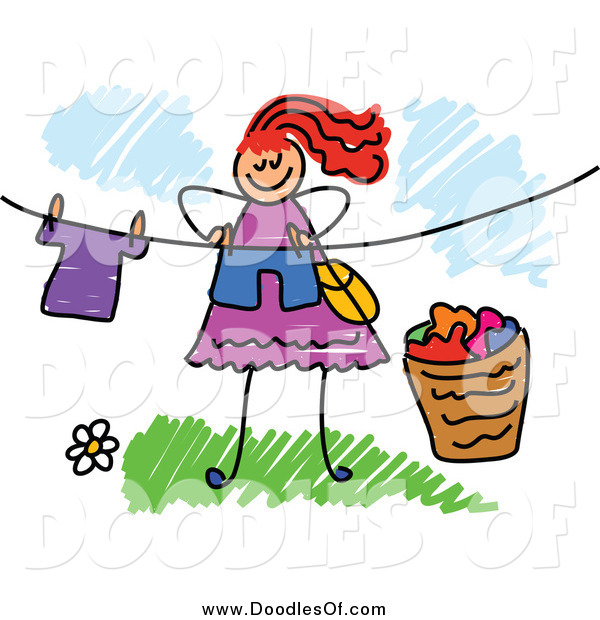 Vector Clipart of a Red Haired Doodled Woman Hanging Laundry on a Line
