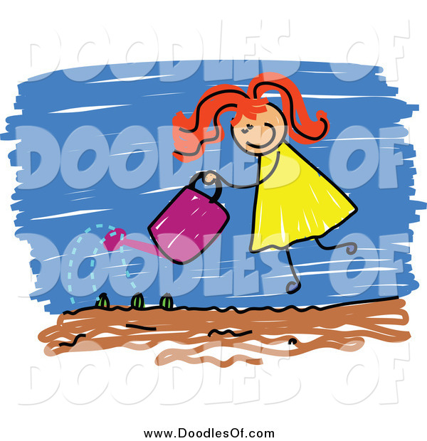 Vector Clipart of a Red Haired White Doodled Girl Watering Her Garden