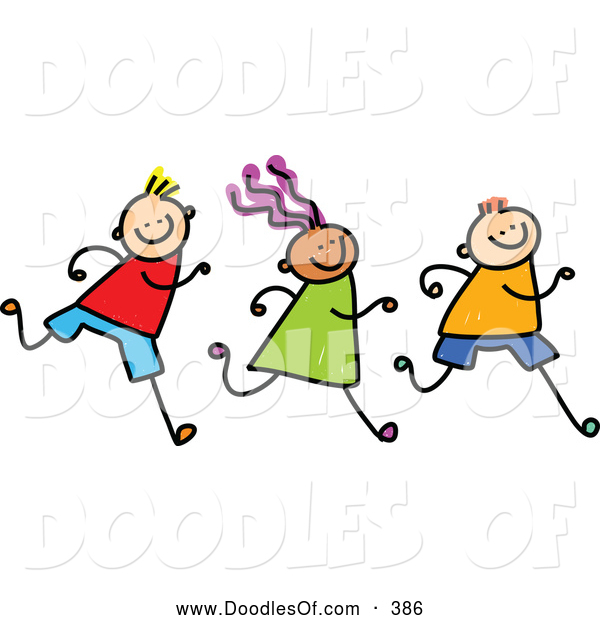 Vector Clipart of a Row of Three Running Kids on White