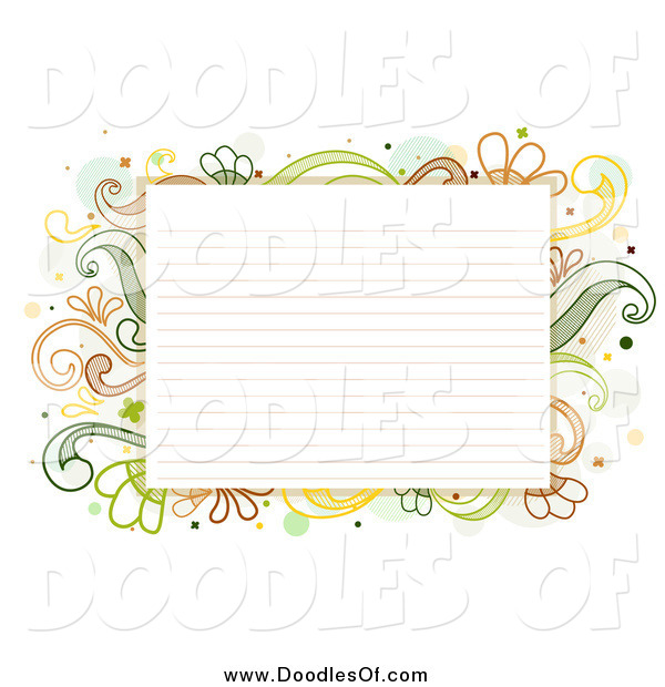 Vector Clipart of a Ruled Paper Bordered with Doodled Green and Yellow Flourishes