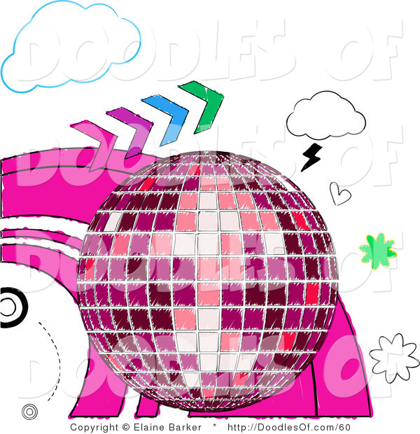 Vector Clipart of a Sketched Pink Shining Disco Ball with Colorful Arrows, Hearts and Clouds