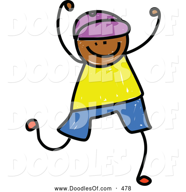 Vector Clipart of a Smiling Boy Celebrating