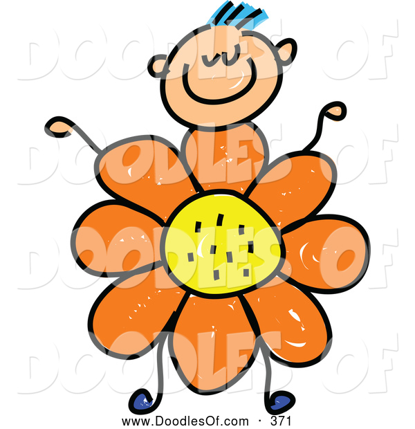 Vector Clipart of a Smiling Boy with a Flower Body