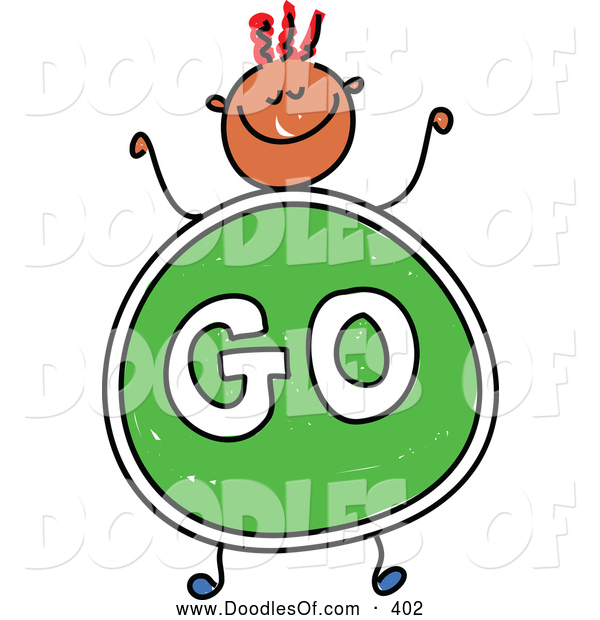 Vector Clipart of a Smiling Boy with a Go Sign Body