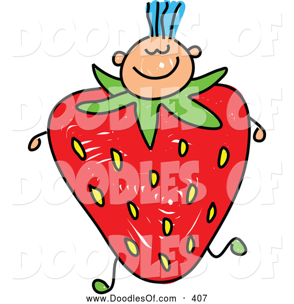 Vector Clipart of a Smiling Boy with a Strawberry Body
