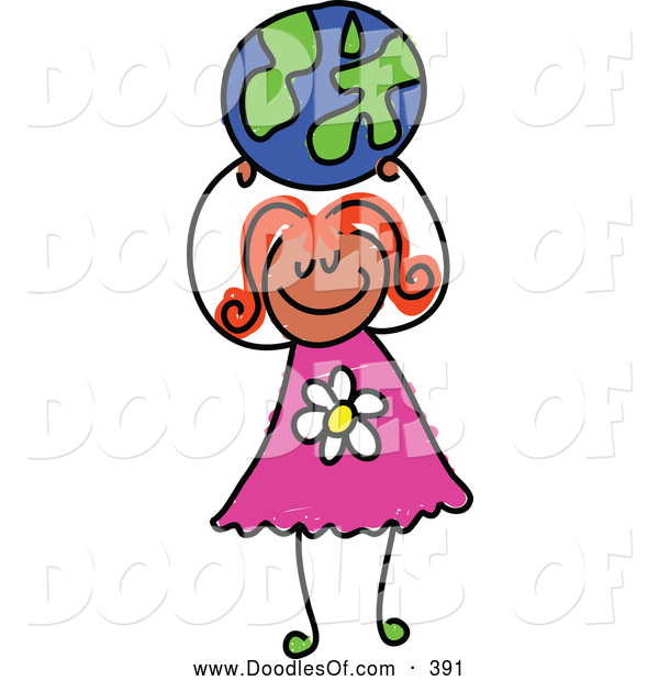 Vector Clipart of a Smiling Girl Holding up a Globe Ball