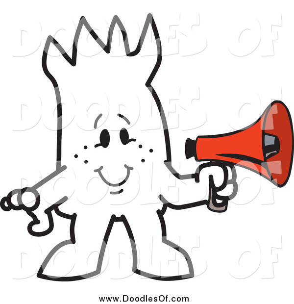 Vector Clipart of a Squiggle Doodle Guy Holding a Megaphone