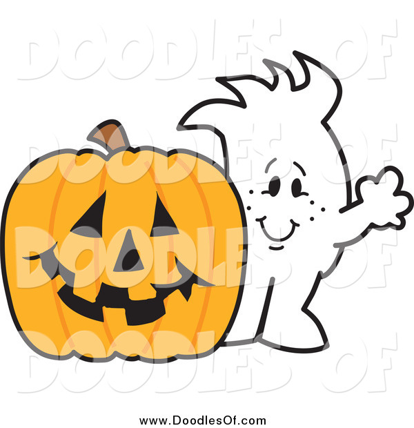 Vector Clipart of a Squiggle Doodle Guy with a Halloween Jackolantern
