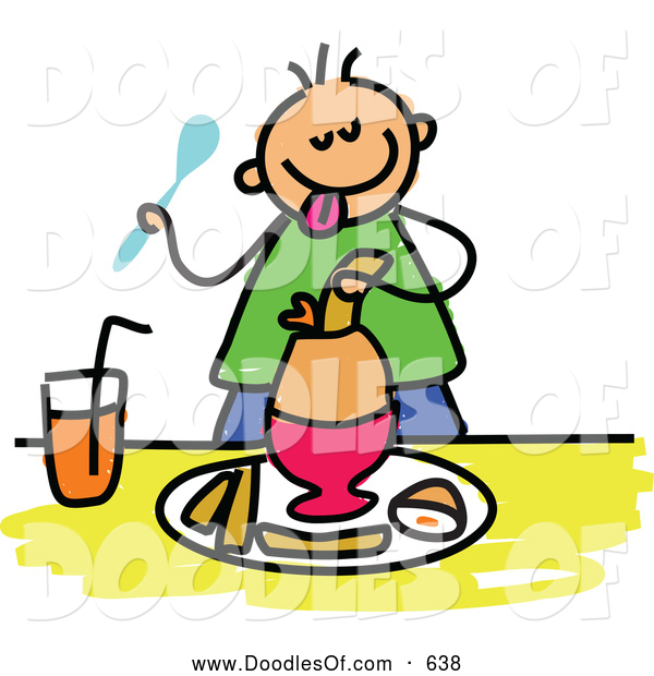 Vector Clipart of a Stick Boy Eating a Soft Boiled Egg for Breakfast