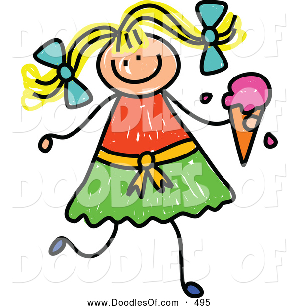 Vector Clipart of a Stick Figure Blond Girl Holding a Strawberry Waffle Cone