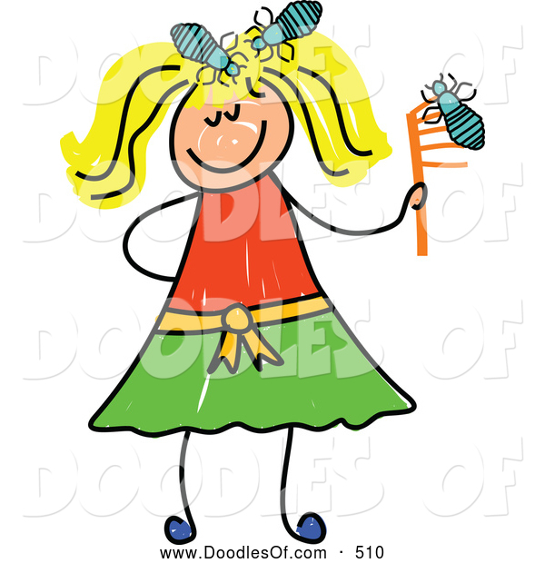 Vector Clipart of a Stick Figure Blond Girl with Head Lice
