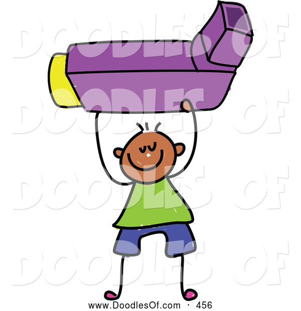 Vector Clipart of a Stick Figure Boy Holding an Asthma Inhaler