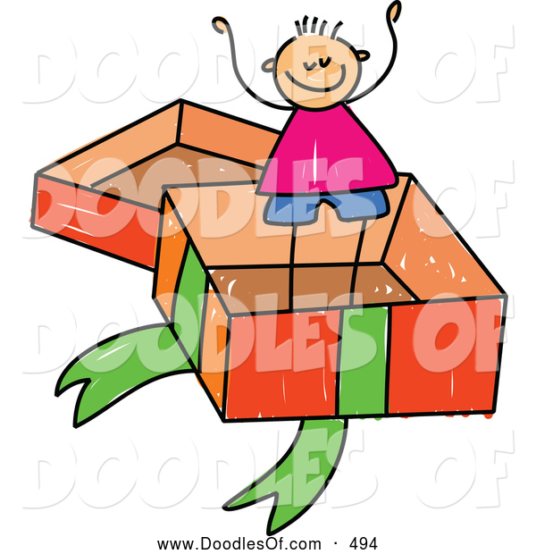 Vector Clipart of a Stick Figure Boy in a Big Gift Box