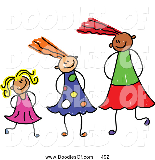 Vector Clipart of a Stick Figure Drawing of a Line of Girls of Different Sizes