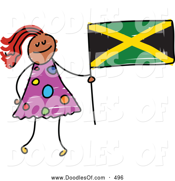 Vector Clipart of a Stick Figure Girl Holding a Jamaican Flag