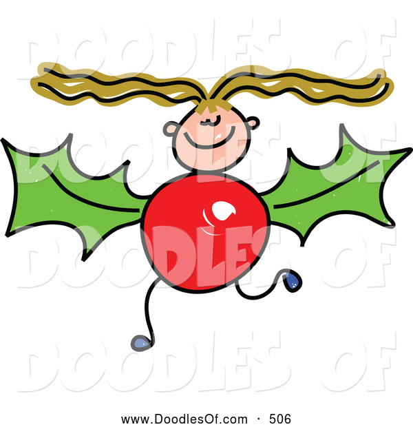 Vector Clipart of a Stick Figure Girl with a Holly Body