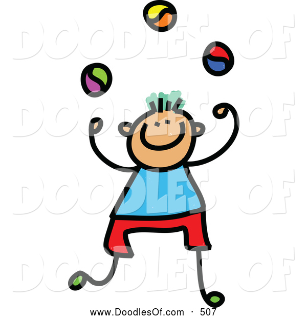 Vector Clipart of a Stick Figure Juggling Boy