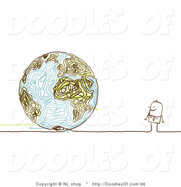 Vector Clipart of a Stick Figure Person Business Man Looking at a Doodle Globe