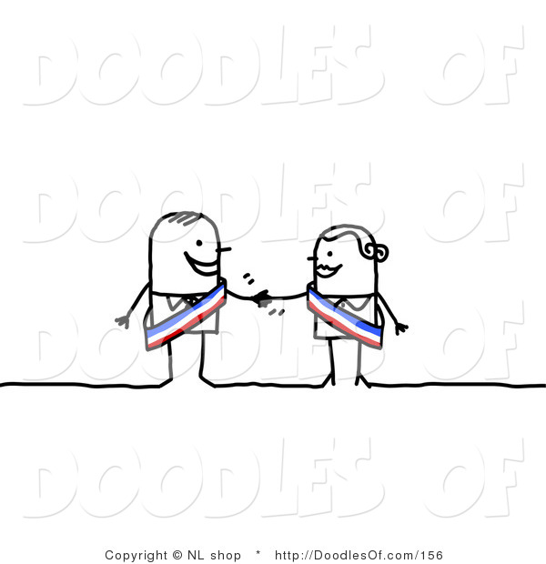 Vector Clipart of a Stick Figure Person Business Man Shaking Hands with a Female Colleague
