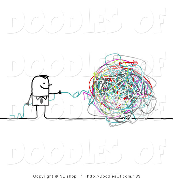 Vector Clipart of a Stick Figure Person Business Man with a Ball of Strings